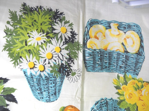 Vintage cotton chintz kitchen fabric flowers by vintageshop 12 00