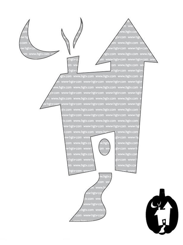 Print this pumpkin carving template to create a cute #Halloween haunted house>> http://www.hgtv.com/decorating-basics/beginner-halloween-pumpkin-carving-templates/pictures/index.html?soc=pinterest