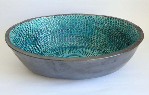 Fish scales table top ceramic basin ceramic sink by clayopera
