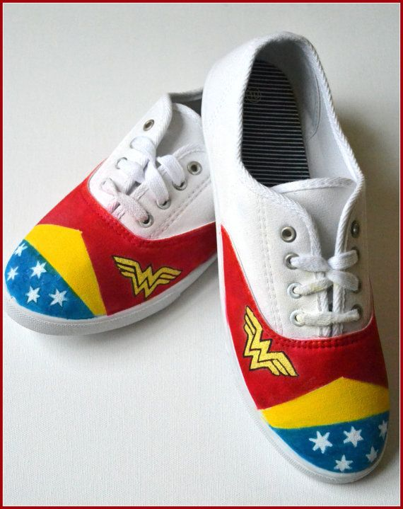 Painted Shoes, Wonder Woman Shoes, Custom Womens Shoes, Womens Painted