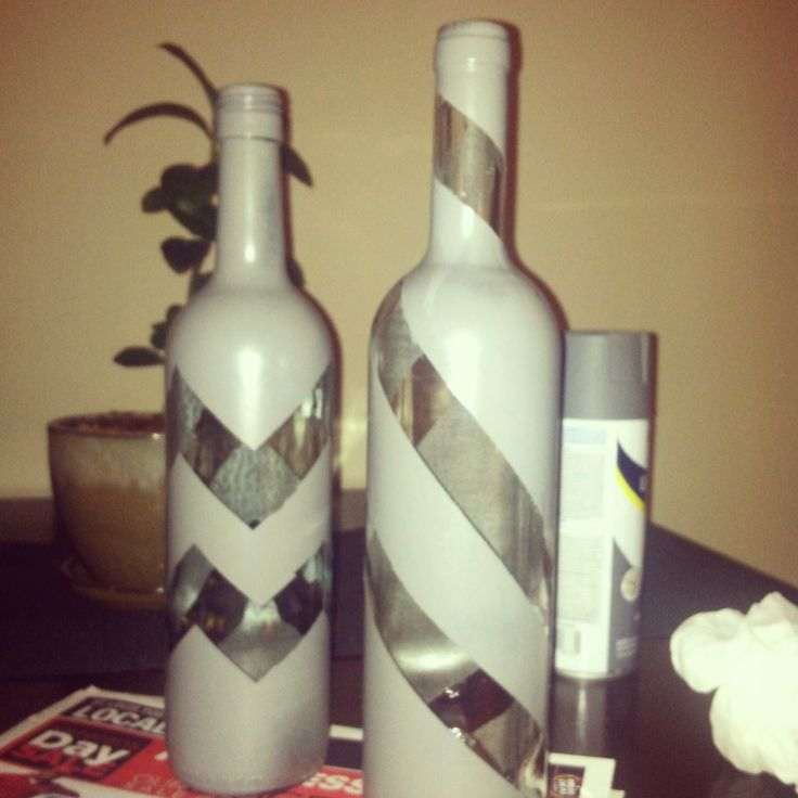Spray painted wine bottles things to make pinterest for Things made from wine bottles