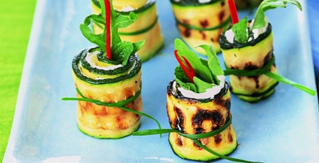 Zucchini Rolls With Goat Cheese And Mint Recipes — Dishmaps
