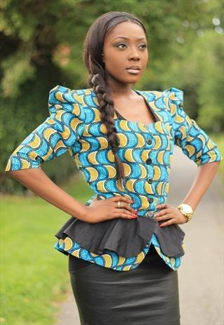 AZURE ECLIPSE PEPLUM TRIBAL BLAZER  african print nigeria ankara fashion tribal gem tribalgem #ankara, AfricanFabric, #jacket