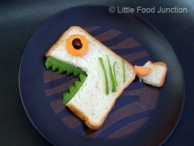 piranha sandwich - bread body and tail, fruit eyes and fin, pepper teeth and stripes
