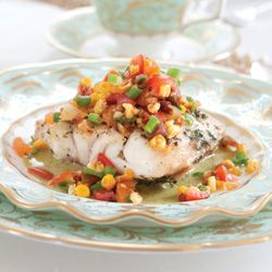Broiled Grouper with Basil Vinaigrette; good with Raspberry ...