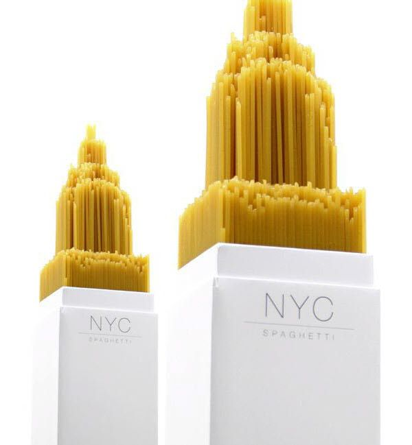On the bottom side of the box is a model of the Chrysler building that pushes the spaghetti up to create a skyscraper shape showcased below.