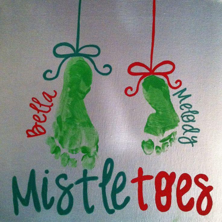 Christmas mistletoe foot prints | Cute crafts! | Pinterest