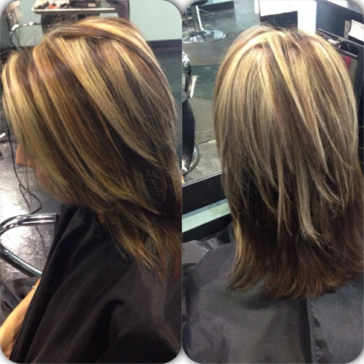 Partial Highlights : Chunky Partial Highlights Photos Picture Dark Brown Hairs
