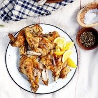 Skillet-Roasted Chicken with Farro and Herb Pistou - Bon Appétit