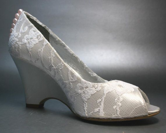 wedding shoes ivory wedges with ivory lace overlay and