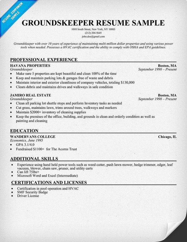 groundskeeper resume sample images