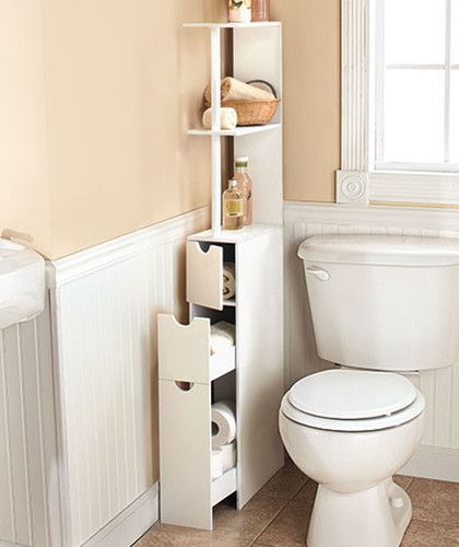 New White Wooden Bathroom Space Saver Storage Cabinet Shelves Bath Or