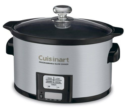 http://yummycakedecorating.com/cuisinart-psc-350-3-12-quart-programmable-slow-cooker/ Slow cooking is an art form.  And the Cuisinart Programmable 3.5 Quart Slow Cooker perfects it using a precise, convenient 24 hour LCD countdown timer and four cooking modes including a Warm function when the time elapses.  It's easy to make comfort foods or try out new gourmet creations-all in a convenient-sized ceramic pot that fits comfortably on any countert...