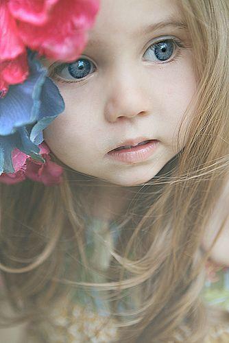 Brown hair blue eyes little girl