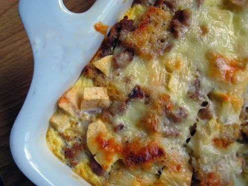Sausage, Apple, Cheddar Breakfast Strata. Assemble the night before ...