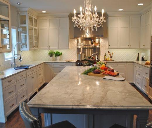 KraftMaid  Transitional U shaped Grey kitchen, white cabinets