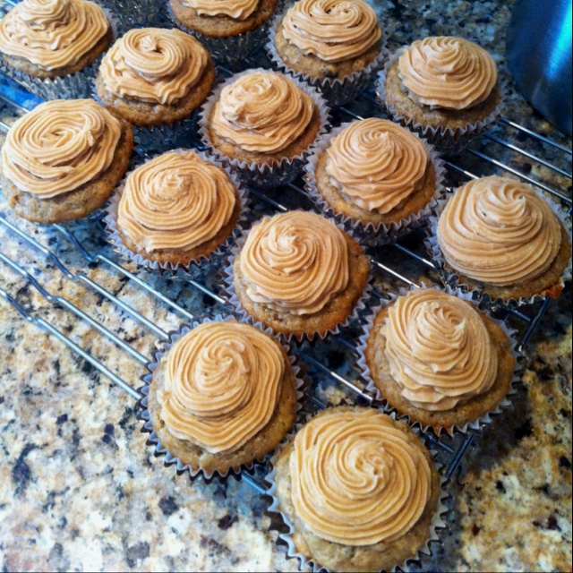 Banana Nut Cupcakes with Peanut Butter Cream Cheese frosting! Yum