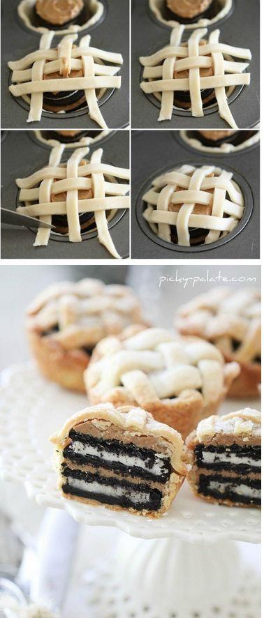 Oreo and Peanut Butter Lattice Pies Tutorial #lattice #pie #oreo # ...