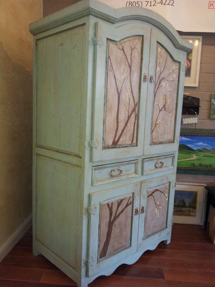 Hand painted armoire karen 39 s custom painting pinterest for Armoire monsieur meuble