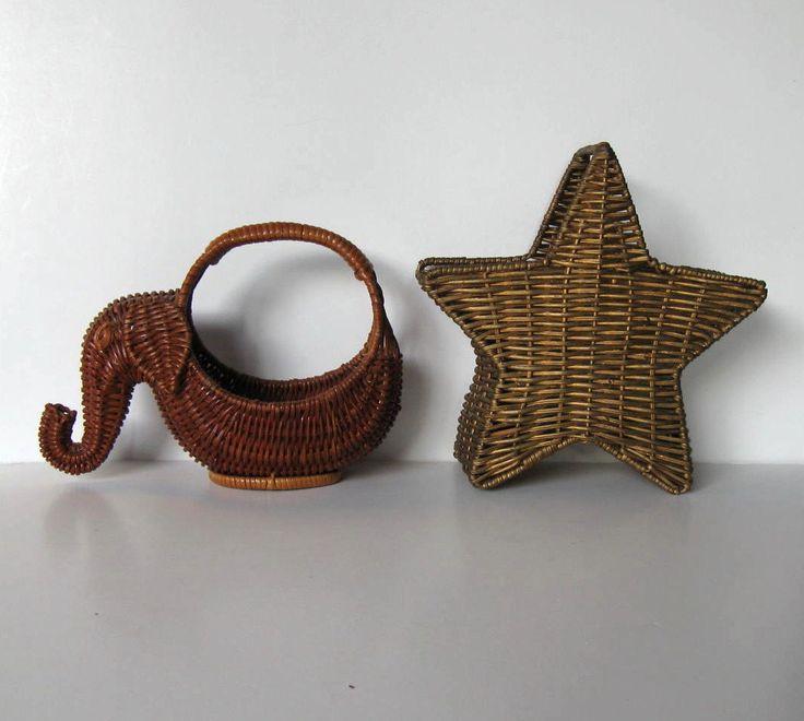 2 Small Vintage Baskets Home Decor Wicker Elephant Star