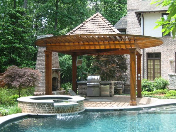 Pool And Outdoor Kitchen Designs Enchanting Decorating Design