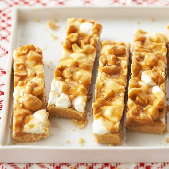 Caramel-Cashew Bars. These look fun, easy, and delicious. Gooey ...