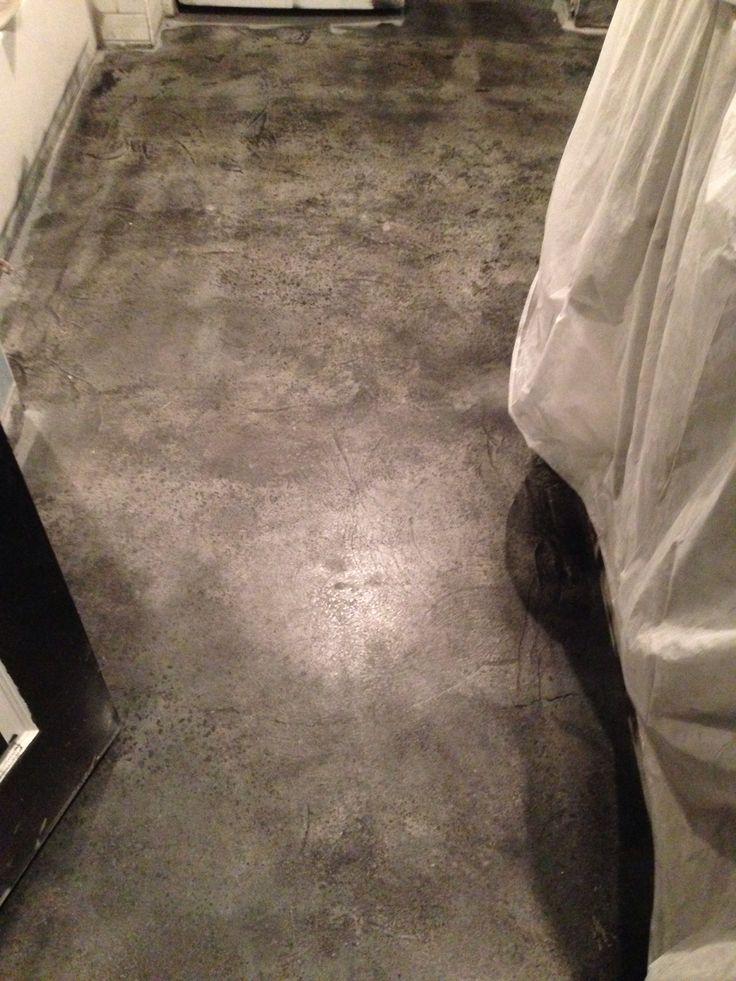 Stained concrete floor bathroom concrete floors pinterest for Concrete bathroom floor