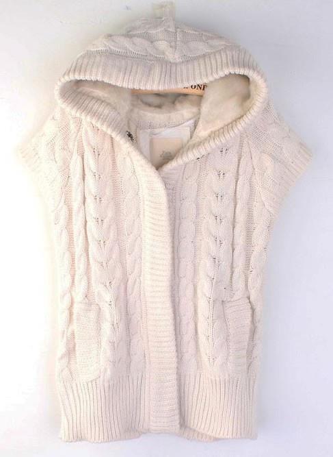 Beige Hood Vest Coat Women Knitting Sweater M/L @STY0012be