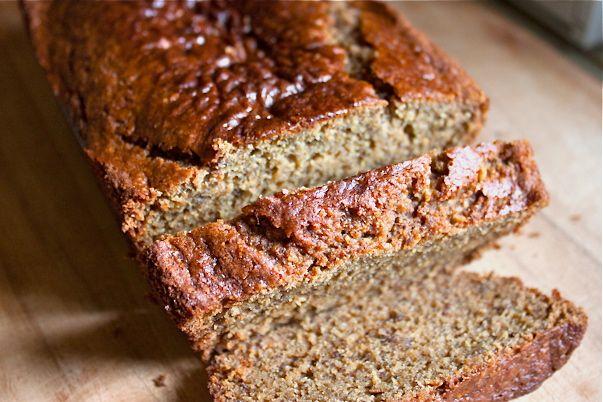 Peanut butter/ banana quick bread (Gluten-free, vegan, sub sunbutter)