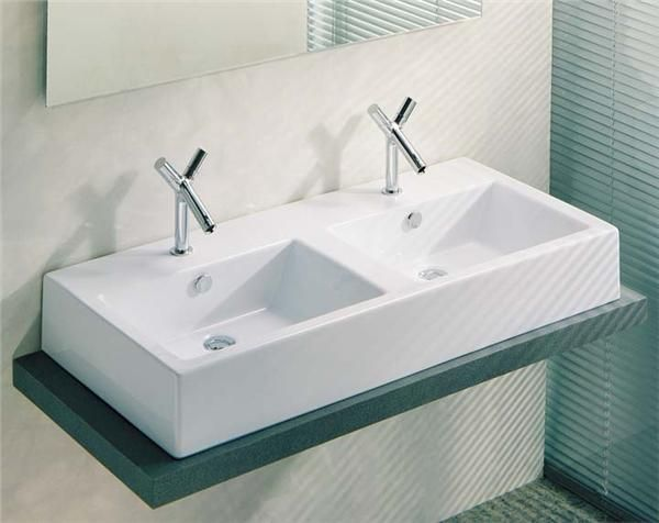 Double Wall Mount Sink : Ceramic Vessel or Wall Mount Double Sink Bath Pinterest