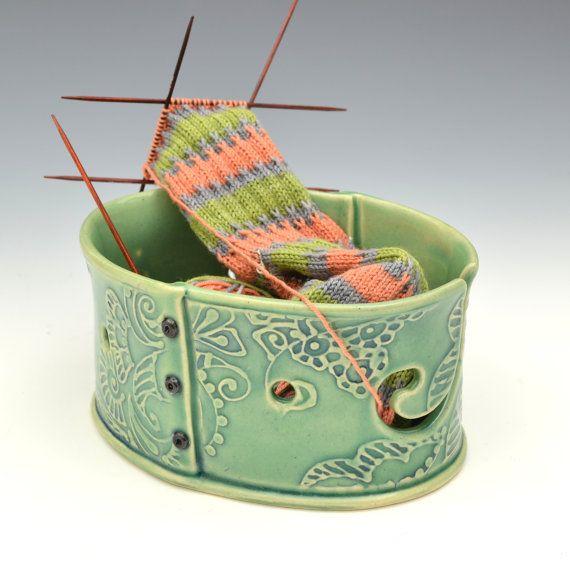 Crochet Yarn Bowl : Yarn Bowl knitting bowl crochet bowl Mothers by Creativewithclay, $65 ...