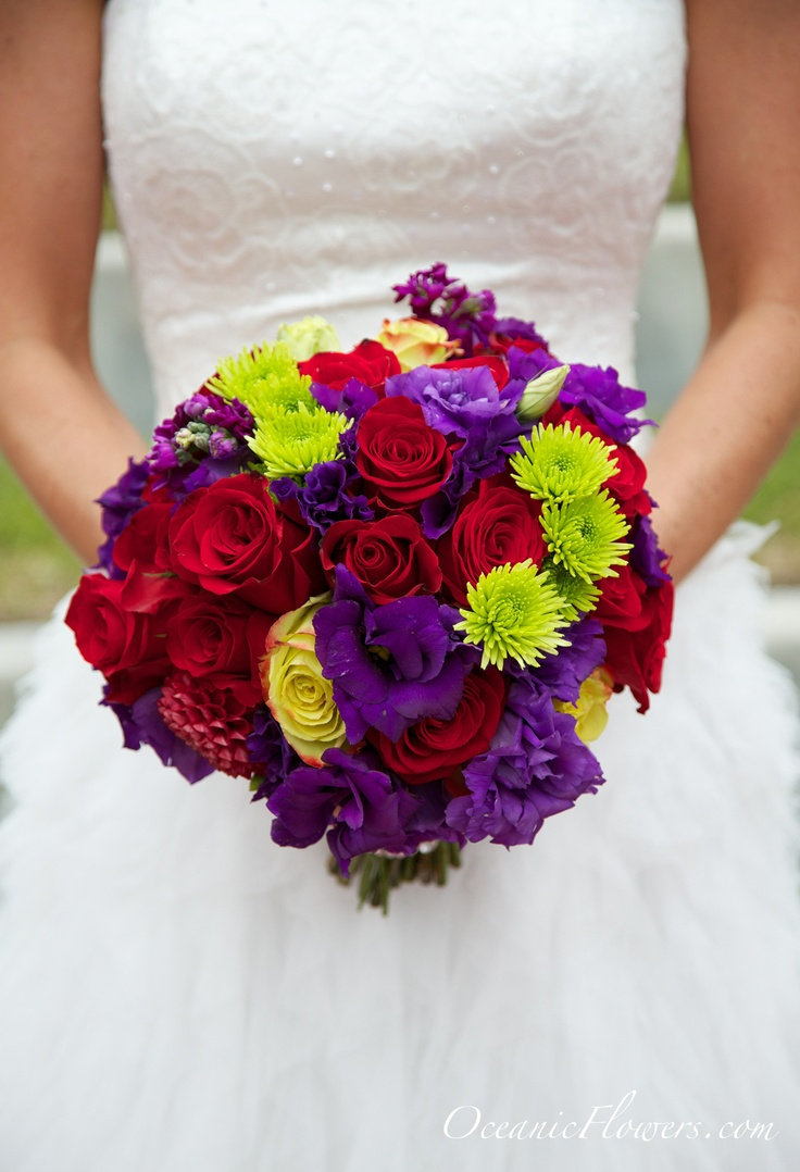 Red Purple And Green Bridal Bouquet Bouquets Pinterest
