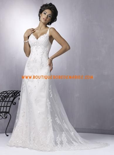 Robe de Mariée dentelle col V robe de mariée de luxe
