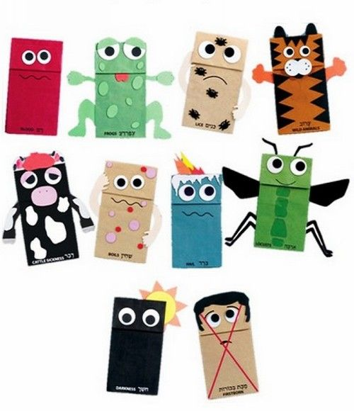 Personalized Passover Crafts for Kids, Ten Plagues Puppet Kit, DIY Holiday Gift Ideas