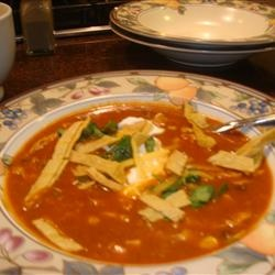 Chicken Enchilada Soup III -Ate some today at a cafe.. hope this is as ...
