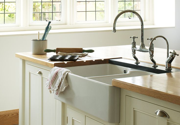 Apron Style Sink : shaker style kitchen; i love the french style sink. I hope that we are ...