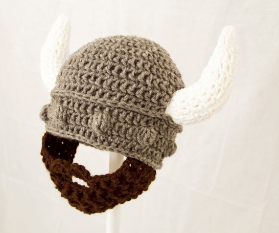 Crochet Viking Hat With Beard : Viking Beard Hat, Grey Crochet Hat with any Color Beard, send size ch ...