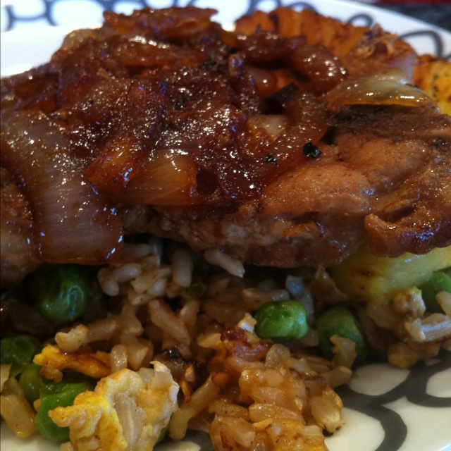 Pork Chops With Pineapple Fried Rice Recipe — Dishmaps