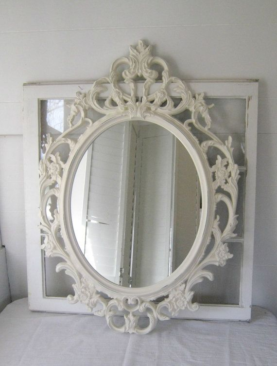 Shabby chic baroque oval mirror antique white ornate for Baroque oval mirror
