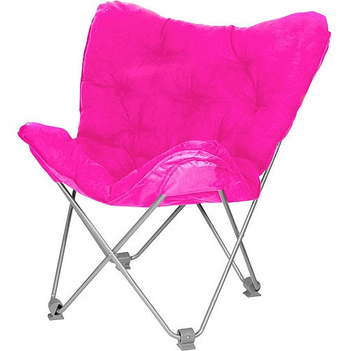 Pink fuzzy lounge chair Think Pink