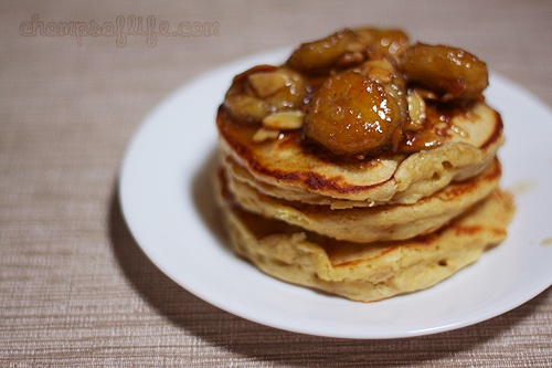 oatmeal pancakes with brown sugar banana syrup, yes please