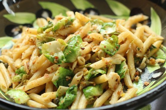Penne Pasta with Brussels Sprouts, Lemon, Capers, Breadcrumbs
