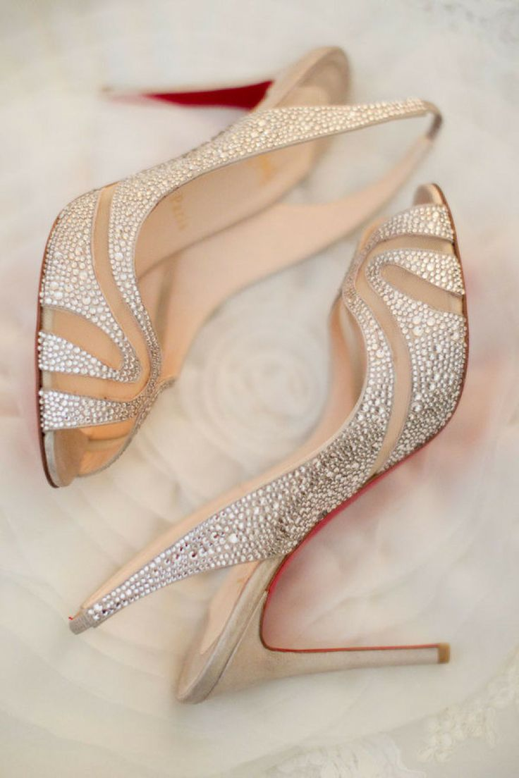 Elegant blush pink and silver heels #weddingshoes #blushpink #shoes