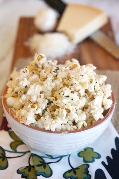 Herbed Garlic-Parmesan Popcorn - for my next movie night!