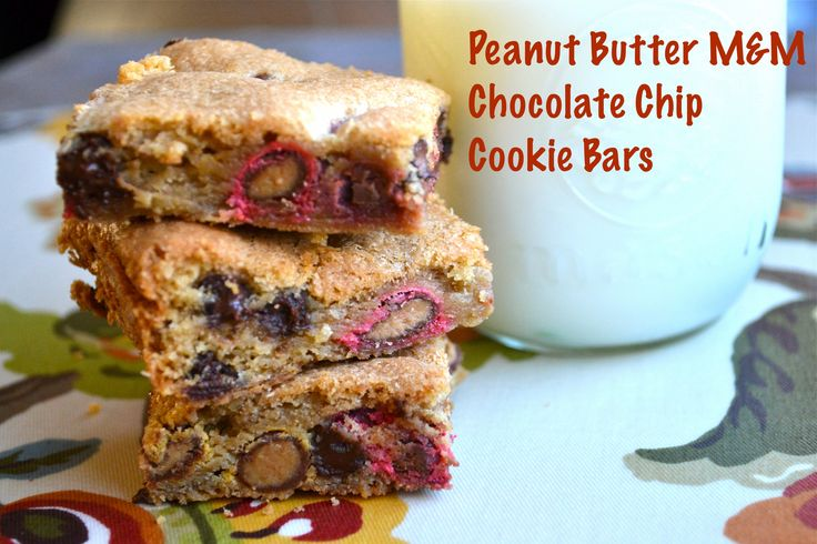peanut butter m amp m chocolate chip cookie bars via stuckonsweet com
