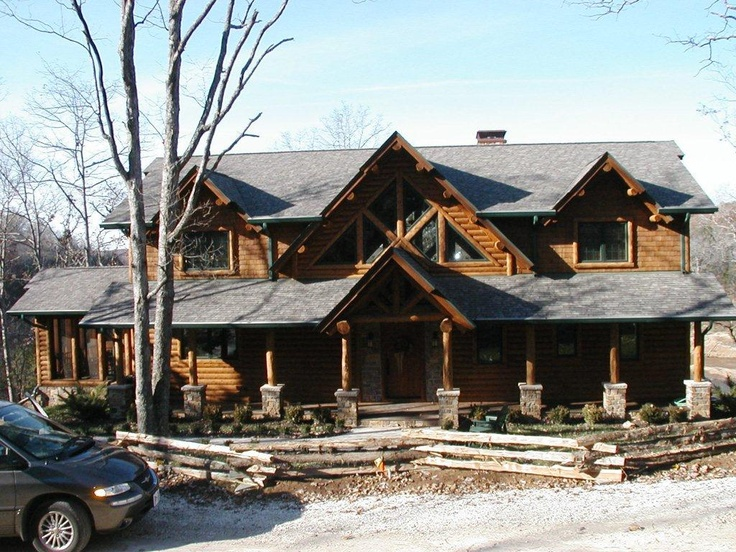 Gorgeous Log Home With Stone Accents Home Exterior