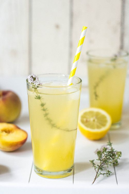 Maple Lemonade with Peaches & Thyme. #drinks