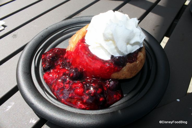 Belgian Waffles with Berry Compote and Whipped Cream - EPCOT Food and Wine Fest