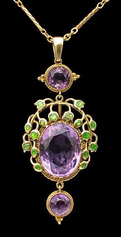 Liberty & Co pendant by Jessie Marion King, circa 1900, gold, enamel, amethyst