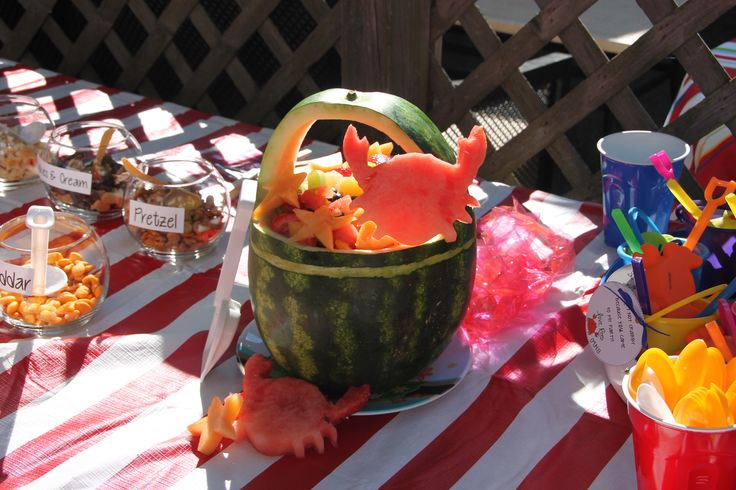 Crabby First Birthday Fruit Salad and Goldfish Bar